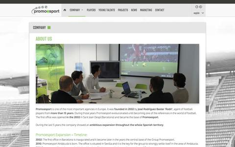 Screenshot of About Page promoesport.es - Company | Football players representation agency. FIFA Agents. Spain. | Promoesport - captured Oct. 1, 2014