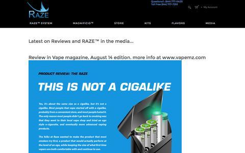 Screenshot of Press Page razevapor.com - Raze Vapor - captured Sept. 30, 2014