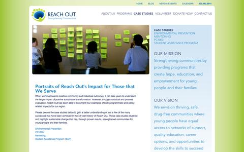 Screenshot of Case Studies Page we-reachout.org - Case Studies | Reach Out - captured Oct. 26, 2014