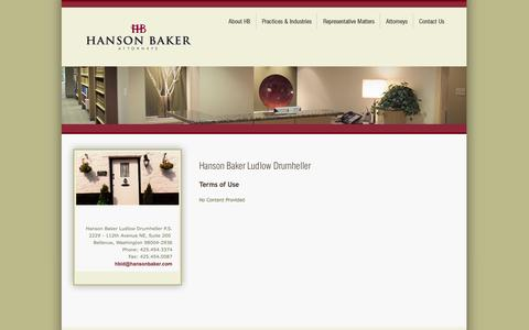 Screenshot of Terms Page hansonbaker.com - Hanson Baker Ludlow Drumheller Contact Page - Bellevue Real Estate Commercial Business Attorneys and Services - captured Oct. 22, 2014