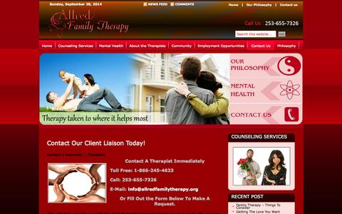 Screenshot of Contact Page allredfamilytherapy.org - Contact Us  Contact Us : - captured Sept. 30, 2014