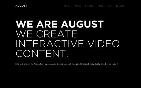 Screenshot of Home Page Services Page aug.st - AUGUST - Interactive Video Production | Cape Town & Copenhagen - captured Oct. 4, 2014