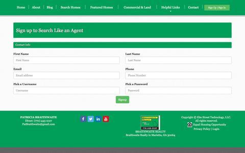 Screenshot of Signup Page braithwaiterealty.us - Patricia Braithwaite - Braithwaite Realty | Marietta, GA Real Estate, Smyrna, GA Real Estate - captured June 2, 2017