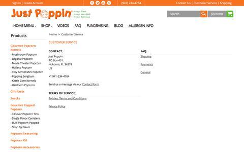 Screenshot of Support Page justpoppin.com - Customer Service | Just Poppin Gourmet Popcorn - captured June 30, 2018
