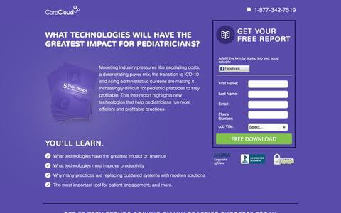 Screenshot of Landing Page carecloud.com - 5 Tech Trends Driving Pediatric Practice Success - captured May 24, 2016