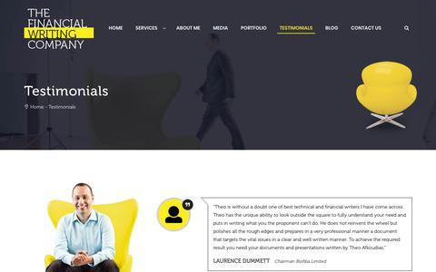 Screenshot of Testimonials Page thefinancialwritingcompany.com.au - The Financial Writing Company | Testimonials - captured Sept. 26, 2018
