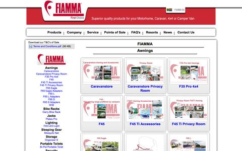Screenshot of Products Page fiamma.co.za - Fiamma First Choice, Motorhome, Caravan, Camper Van, Products, Awnings, Tent, Carry Bike Racks, Ladders, Tanks, Rooflights, Portable Toilets, Levellers, Privacy Room, Caravan Store, 4x4 Awnings, Tie Down, Covers, Vents, Safe Door - captured Oct. 5, 2014
