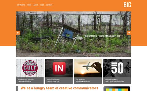 Screenshot of Home Page bigcom.com - Think Big | Advertising and Public Relations | Digital | Branding - captured Oct. 5, 2014