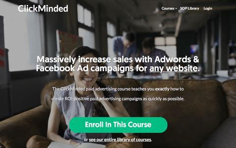 Screenshot of clickminded.com - Google Adwords & Facebook Ads Training For Startups - ClickMinded - captured Dec. 9, 2017