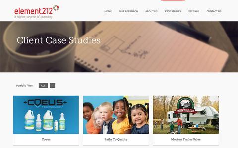 Screenshot of Case Studies Page element212.com - Marketing PortfolioElement 212 - captured Oct. 1, 2014