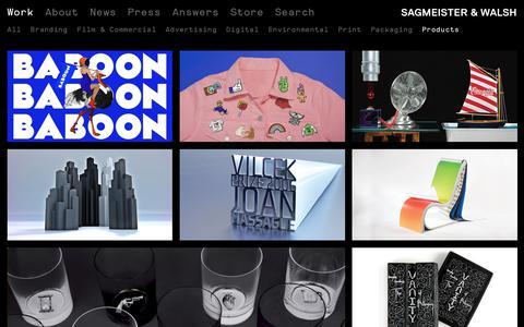 Screenshot of Products Page sagmeisterwalsh.com - Work – Sagmeister & Walsh - captured Sept. 22, 2018