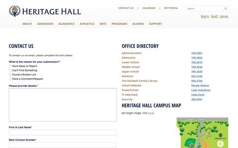 Screenshot of Contact Page Maps & Directions Page heritagehall.com - Contact Us - Heritage Hall - captured June 10, 2016