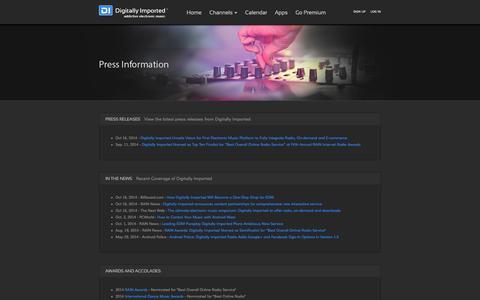 Screenshot of Press Page di.fm - Press - DI Radio - captured Oct. 29, 2014