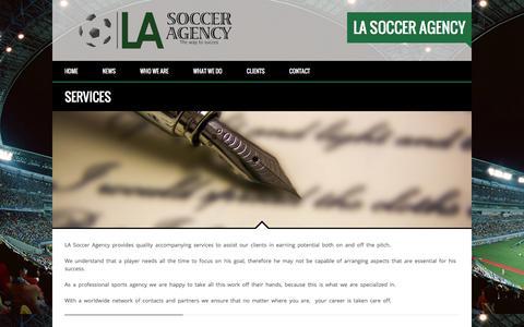 Screenshot of Services Page lasocceragency.com - Services Â«  LA Soccer Agency - captured July 9, 2016