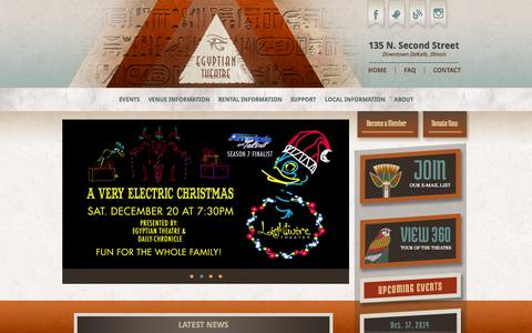 Screenshot of Home Page egyptiantheatre.org - The Historic Egyptian Theatre - Downtown DeKalb Illinois - captured Oct. 7, 2014