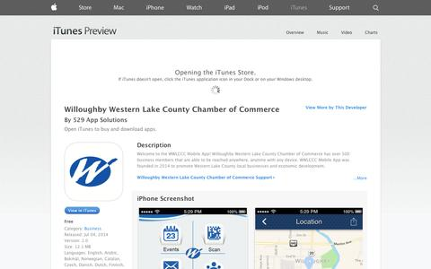 Screenshot of iOS App Page apple.com - Willoughby Western Lake County Chamber of Commerce on the App Store on iTunes - captured Nov. 5, 2014