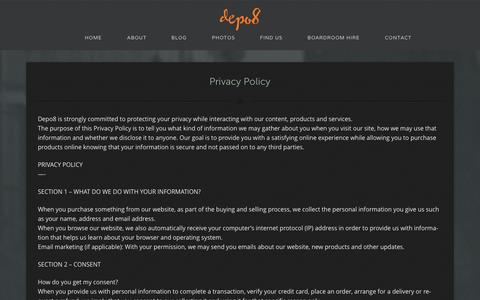 Screenshot of Privacy Page depo8.com - Privacy Policy - Depo8 Coworking and shared offices - captured Sept. 30, 2014
