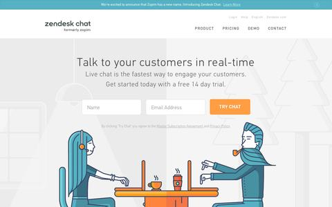 Screenshot of Home Page zopim.com - Zopim Live Chat | Engage Your Customers | Live Support - captured Feb. 8, 2017