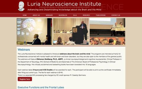 Screenshot of Home Page lninstitute.org - Luria Neuroscience Institute - Courses and Scientific Programs in Neuropsychology and Neuroscience - captured March 20, 2018