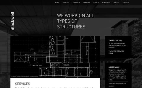 Screenshot of Services Page blackwell.ca - Services | Blackwell Structural Engineers - captured Aug. 2, 2018