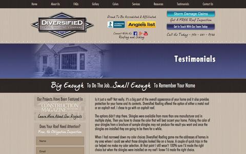 Screenshot of Testimonials Page diversifiedroofing.net - Testimonials   Diversified Metal Roofing Company - captured Feb. 9, 2016