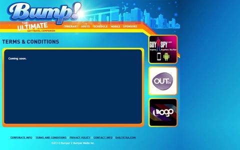 Screenshot of Terms Page bumptv.com - Bump! The Ultimate Gay Travel Companion - captured Feb. 8, 2016
