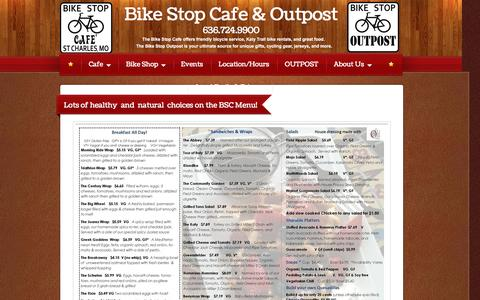 Screenshot of Menu Page bikestopcafes.com - Bike Stop Cafe & Outpost - Menu - captured Feb. 7, 2016