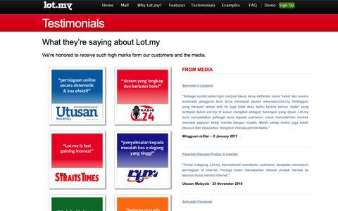Screenshot of Testimonials Page lot.my - Lot.my - Testimonials - captured Oct. 31, 2014