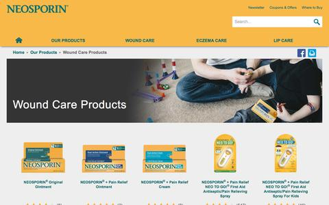Screenshot of Products Page neosporin.com - Wound Care Products | NEOSPORIN® - captured Sept. 22, 2015