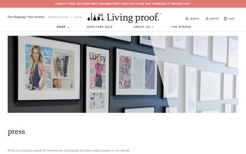 Screenshot of Press Page livingproof.com - Living Proof® | Press - captured Sept. 25, 2018