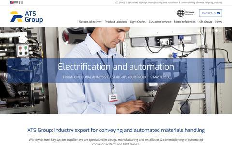 Screenshot of Home Page ats-group.com - Designer and manufacturer of conveyor, industrial materials handling   ATS Group - captured Oct. 2, 2018