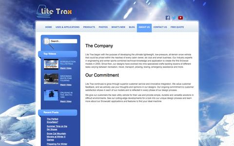 Screenshot of About Page litetrax.com - Snowcats for Cabin Owners, Ski Clubs & Small Businesses | LiteTrax - captured Oct. 2, 2014