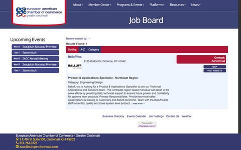 Screenshot of Jobs Page europe-cincinnati.com - Job Board - European American Chamber of Commerce - Greater Cincinnati, OH - captured Nov. 11, 2016