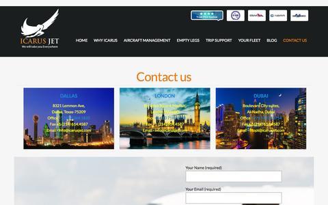 Screenshot of Contact Page icarusjet.com - Contact us - icarusjet - captured Sept. 19, 2014