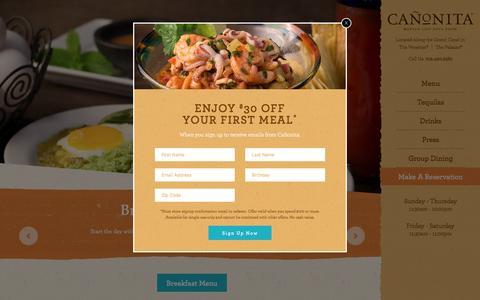 Screenshot of Home Page canonita.com - Cañonita │ Upscale Mexican Restaurant Las Vegas - captured May 14, 2017