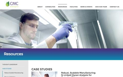 Screenshot of Case Studies Page cmcbio.com - Case Studies - captured Oct. 6, 2016