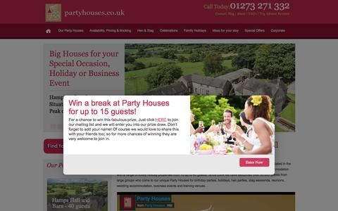 Screenshot of Home Page partyhouses.co.uk - Large Group Accommodation UK   Large Holiday Houses - captured Jan. 25, 2016