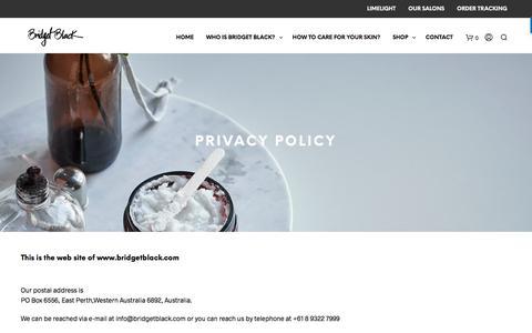 Screenshot of Privacy Page bridgetblack.com - Privacy Policy | bridget black - captured Aug. 3, 2018