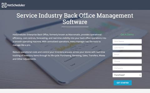 Screenshot of Landing Page hotschedules.com - Enterprise Back Office Demo - captured March 27, 2018