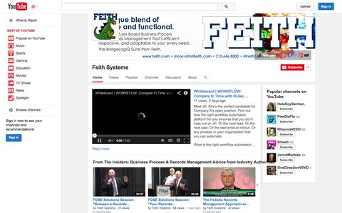 Screenshot of YouTube Page youtube.com - Feith Systems  - YouTube - captured Oct. 23, 2014