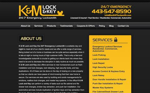 Screenshot of About Page km247locksmith.com - About K & M Lock and Key - A Maryland Locksmith Company - captured Oct. 3, 2014