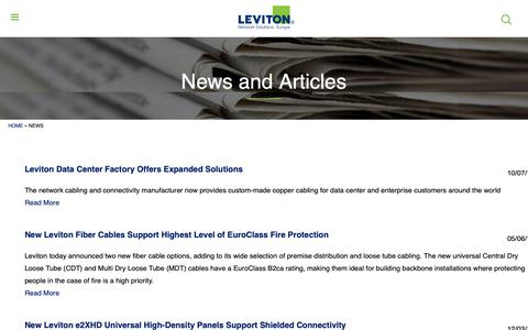 Screenshot of Press Page brand-rex.com - News and Articles | Leviton Network Solutions Europe - captured Nov. 6, 2018
