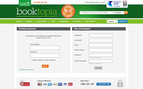 Screenshot of Signup Page booktopia.com.au - Booktopia - Books, Online Books, #1 Australian online bookstore, Buy Discount Books, eBooks and DVDs from Australia and the world. - captured Oct. 29, 2014