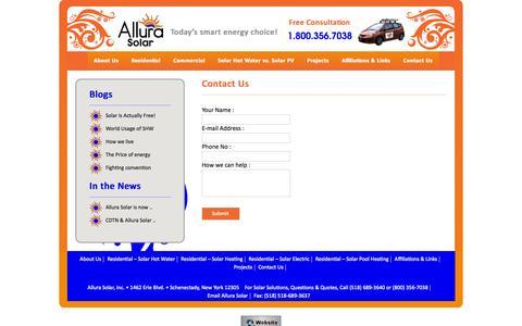 Screenshot of Contact Page allurasolar.com - Contact Us | Allura Solar - captured Oct. 3, 2014