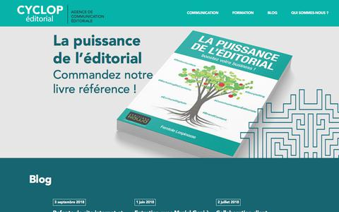 Screenshot of Home Page cyclop-editorial.fr - Cyclop Éditorial - Agence de communication éditoriale - captured Sept. 22, 2018