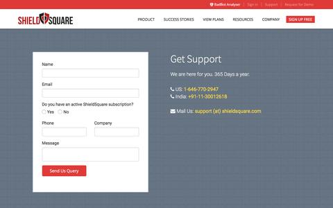 Screenshot of Support Page shieldsquare.com - Anti Scraping Solution Support | ShieldSquare - captured March 22, 2016