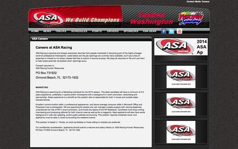 Screenshot of Jobs Page asa-racing.com - ASA Racing - captured Oct. 5, 2014