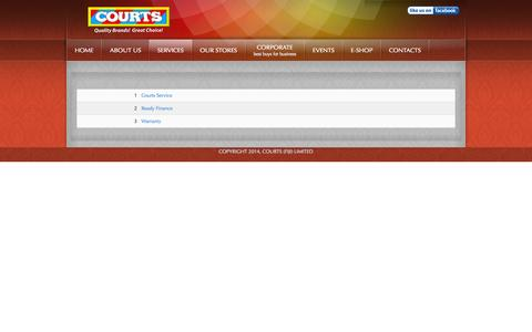 Screenshot of Services Page courts.com.fj - COURTS (FIJI) LIMITED | OUR SERVICES - captured Oct. 3, 2014