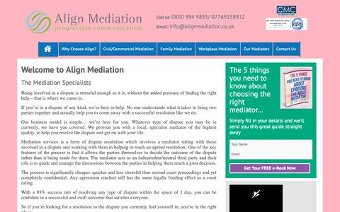 Screenshot of Home Page alignmediation.co.uk - Align Mediation – Progressive Communication - captured Oct. 3, 2018