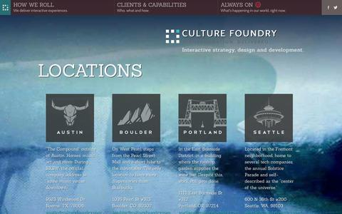 Screenshot of Locations Page culturefoundry.com - Locations - Austin, Boulder, Portland, Seattle - Strategy, design and development for web, mobile and social - Culture Foundry - captured Sept. 30, 2014
